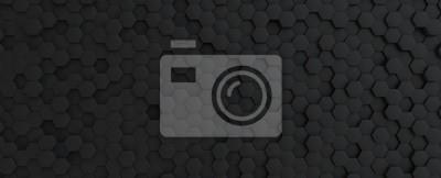 Poster Hexagonal dark grey, black background texture, 3d illustration, 3d rendering