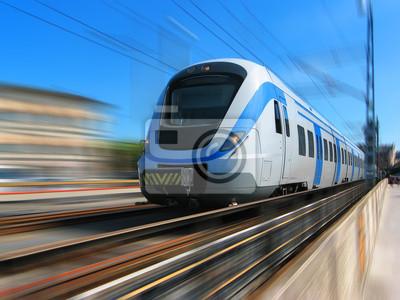 Poster High-Speed-Zug mit Bewegungsunschärfe
