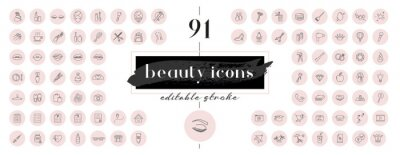 Poster Highlight covers backgrounds. Set of beauty icons.