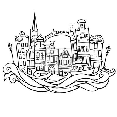 Hintergrund mit Hand gezeichnet doodle Amsterdam Häuser. Isoliert schwarz und weiß. Abbildung Vektor.