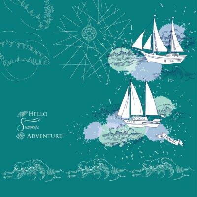 Poster Hintergrund mit Schiffen und Wellen.Hand gezeichnet Meer, Wellen und Yachten. Abbildung