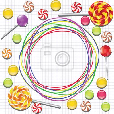 Hintergrund mit Süßigkeiten und doodle Rahmen