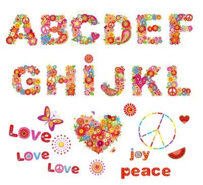Poster Hippie floralen Alphabet mit lustigen bunten Blumen. Teil 1