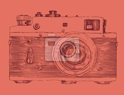 Hipster-Foto-Kamera gestochen Retro-Stil, von Hand gezeichnet