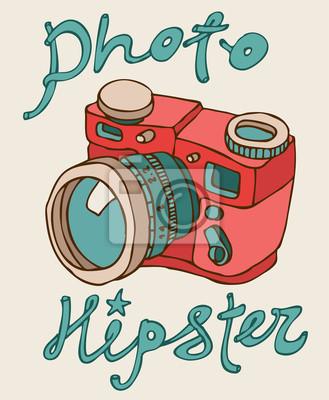 Hipster-Foto-Kamera, Vektor-Illustration, Hand gezeichnet