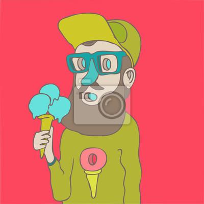 Hipster mit Eis, Vektor-Illustration