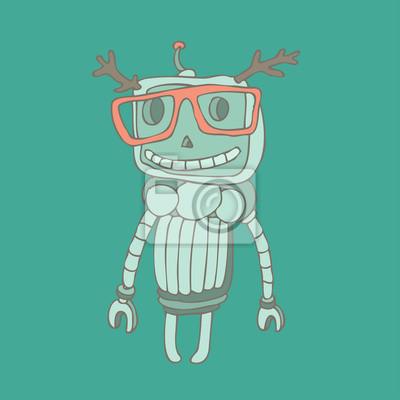 Hipster Roboterspielzeug-Symbol und Illustration
