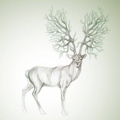 Hirsch mit geweih wie weihnachtsbaum / surreal vektor-skizze ...