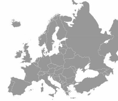 Poster Hochwertige Karte Europa mit Grenzen der Regionen