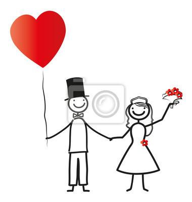 Hochzeit Brautpaar Mit Herz Wandposter Poster Braut Und