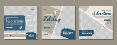 Poster Holiday travel social media banner template design. Travelling, tour or tourism business online marketing web post or poster. Summer beach traveling flyer with logo, icon, abstract background.