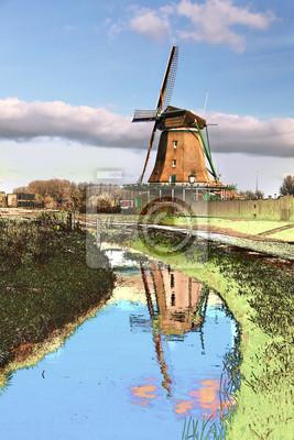 Holländer-Windmühle in Zaanse Schans, Amsterdam Bereich, Niederlande