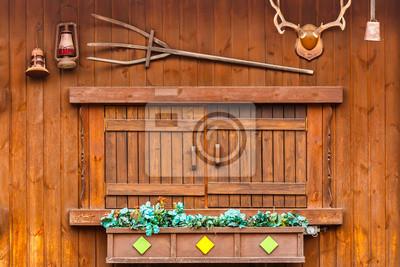 Holz Fenster Auf Holz Haus Wandposter Poster Bewohner Dreizack