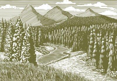 Poster Holzschnitt-Stil Illustration einer Berglandschaft mit einem Bach durchläuft.