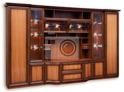 Holzschrank mit Glastüren. Isoliert auf weißem