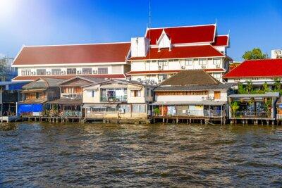 Homes along Chao Phraya River in Bangkok, Thailand