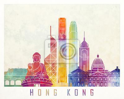 Hong Kong Sehenswürdigkeiten Aquarell Poster