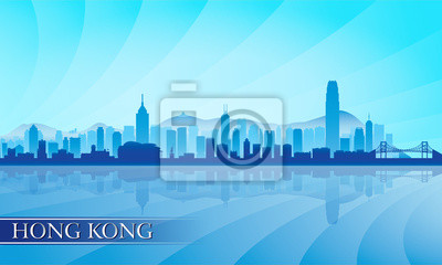Hong Kong Skyline Silhouette Hintergrund