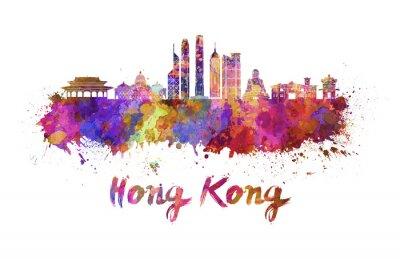 Hong Kong V2 Skyline in Wasserfarbe