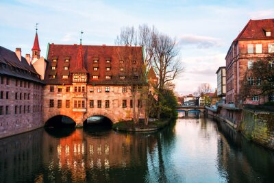 Hospice of the Holy Spirit - old architecture in the famous touristic city Nuremberg, Germany