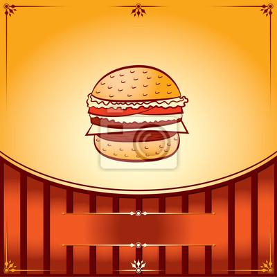 Hot Hamburger. Vektor-Grafik-Illustration mit Platz für Text
