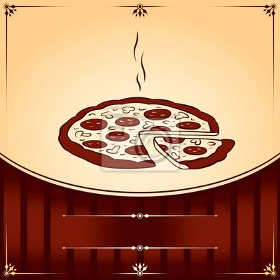 Hot Pizza. Vektor-Grafik-Illustration mit Platz für Text