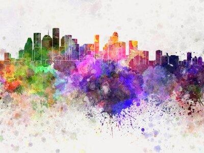 Houston Skyline in Aquarell-Hintergrund