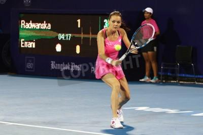 Poster Hua Hin, Thailand - 1. Januar 2016: Agnieszka Radwanska ist auf Platz 5 der Welt. World Tennis Thailand Meisterschaft 2016 bei True Arena Hua Hin Sportverein, Prachuap Khiri Khan.