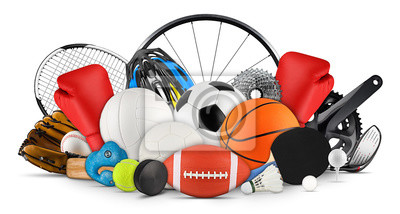 Poster huge collection stack of sport balls gear equipment from various sports isolated white background
