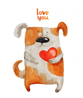 Poster Hund lächelnd mit Herz. Aquarellabbildung