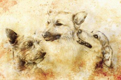 Poster Hunde Bleistiftzeichnung auf altem Papier, Vintage-Papier und alte Struktur mit Farbflecken.