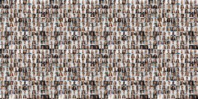Poster Hundreds of multiracial people crowd portraits headshots collection, collage mosaic. Many lot of multicultural different male and female smiling faces looking at camera. Diversity and society concept.