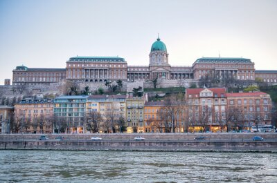 Hungarian buildings along Danube river at sunset, Budapest - Hungary