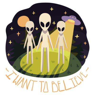 Poster Ich möchte glauben, Vektor-Poster (Hintergrund) mit Aliens auf dem Hügel und UFO in der Nacht mit Vollmond und Sterne (Cartoon-Stil)