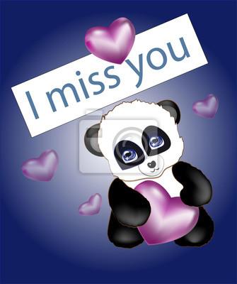 Ich Vermisse Dich Panda Wandposter Poster Romantik Verliebt
