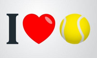 Poster Icono plano ich liebe tenis Farbe en fondo degradado