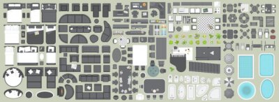 Poster Icons set of interior. Furniture top view. Elements for the floor plan. (view from above). Furniture and elements for living room, bedroom, kitchen, bathroom, office.