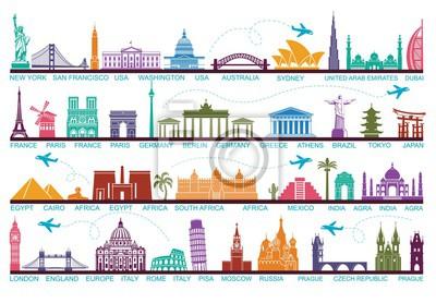 Poster Icons Welt Touristenattraktionen. Die Symbole reisen um die Welt. Wahrzeichen und Sehenswürdigkeiten