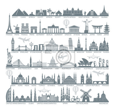 Poster Icons world tourist attractions and architectural landmarks