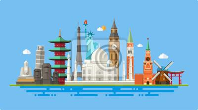 Poster Illustration der flachen Design-Postkarte mit berühmten Wahrzeichen der Welt