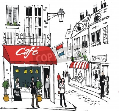Poster Illustration der Französisch Dorf Café Straßenszene