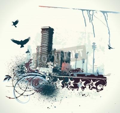 Poster Illustration der städtischen Hintergrund mit Grunge befleckt Design-Elemente