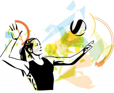 Poster Illustration der Volleyball-Spieler Spiel
