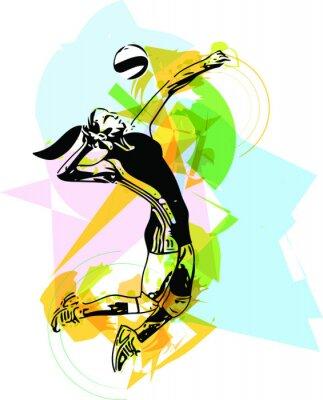 Poster Illustration der Volleyball-Spieler Spiel