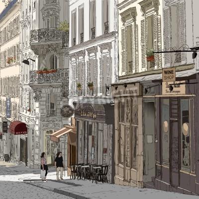 Poster Illustration einer Straße in Montmartre Paris