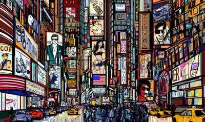 Poster Illustration einer Straße in New York City - Times Square - Vektor-Illustration