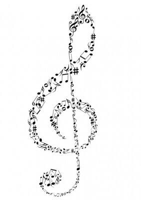 Poster Illustration eines G-Schlüssel mit Musiknoten