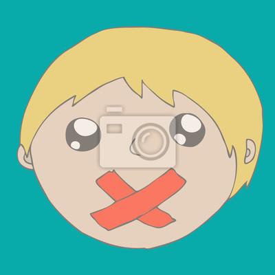 Illustration eines kleinen Jungen Stille