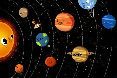 Poster Illustration für Kinder: Die glücklichen Planeten im Sonnensystem. Realistische Fantastische Karikatur-Art-Grafik / Geschichte / Szene / Tapete / Hintergrund / Karten-Entwurf.