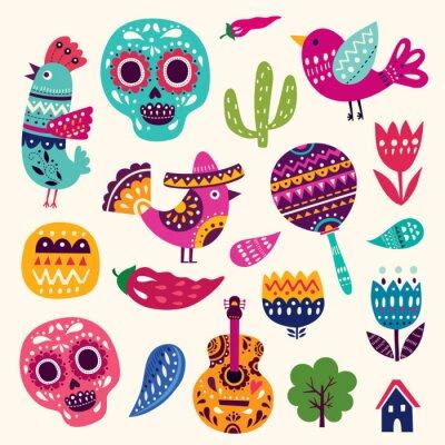 Poster Illustration mit Symbolen von Mexiko